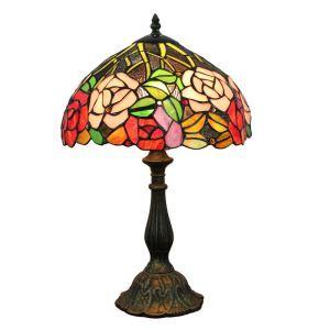 12inch Lampe à poser chevet table Style Pastoral Européen Rétro abat-jour à motif des fleurs colorées luminaire pour salon cuisine chambre