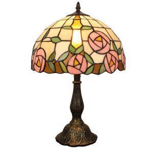 12inch Lampe à poser chevet table Style Pastoral Européen Rétro abat-jour à motif des roses luminaire pour salon cuisine chambre