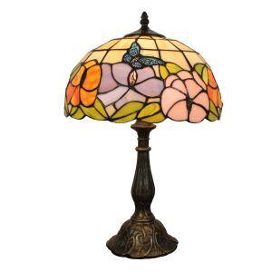 12inch Lampe à poser chevet table Style Pastoral Européen Rétro abat-jour à motif des papillons et fleurs luminaire pour salon cuisine chambre