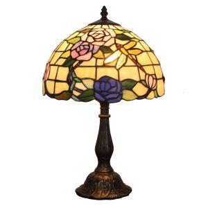 12inch Lampe à poser chevet table Style Pastoral Européen Rétro abat-jour à motif des roses et libellules luminaire pour salon cuisine chambre