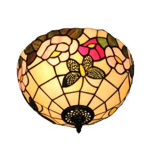 12inch Plafonnier Style Pastoral Européen Rétro abat-jour papillon fleur luminaire pour salon cuisine chambre