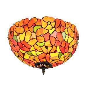 12inch Plafonnier Style Pastoral Européen Rétro abat-jour à motif des fleurs colorées luminaire pour salon cuisine chambre