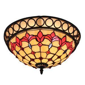 12inch Plafonnier Style Pastoral Européen Rétro abat-jour à motif des fleurs rouge abat-jour luminaire pour salon cuisine chambre