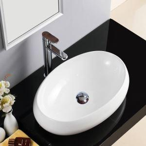Vasque à poser Lavabo en céramique pour salle de bains toilettes style moderne simple ovale 48cm