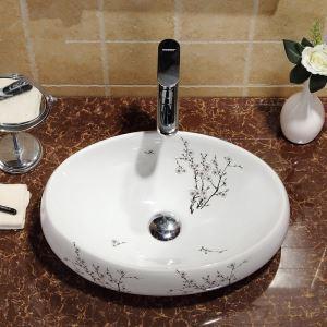 Vasque à poser Lavabo en céramique pour salle de bains toilettes style moderne simple ovale motif des fleurs du prunier 48cm