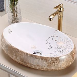 Vasque à poser Lavabo en céramique pour salle de bains toilettes style moderne simple ovale marbrures 48cm