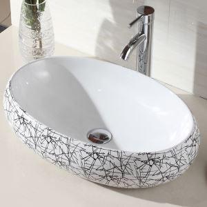 Vasque à poser Lavabo en céramique pour salle de bains toilettes style moderne simple ovale motif géométrique 48cm