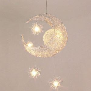 Afficher les détails pour (Entrepôt UE) Lustre suspension à 5 lumières lune étoile luminaire décorative chambre d'enfant chambre bebe cuisine
