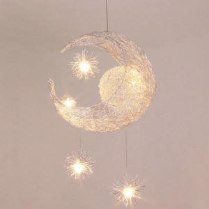 (Entrepôt UE) Lustre suspension à 5 lumières lune étoile luminaire décorative chambre d'enfant chambre bebe cuisine