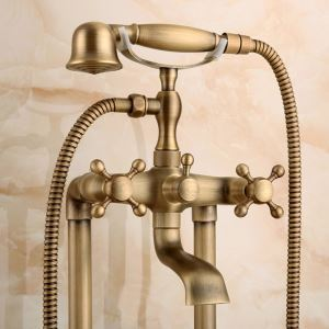Robinet de douche en cuivre brossé style rétro pour salle de bain 2 trous 3 poignées