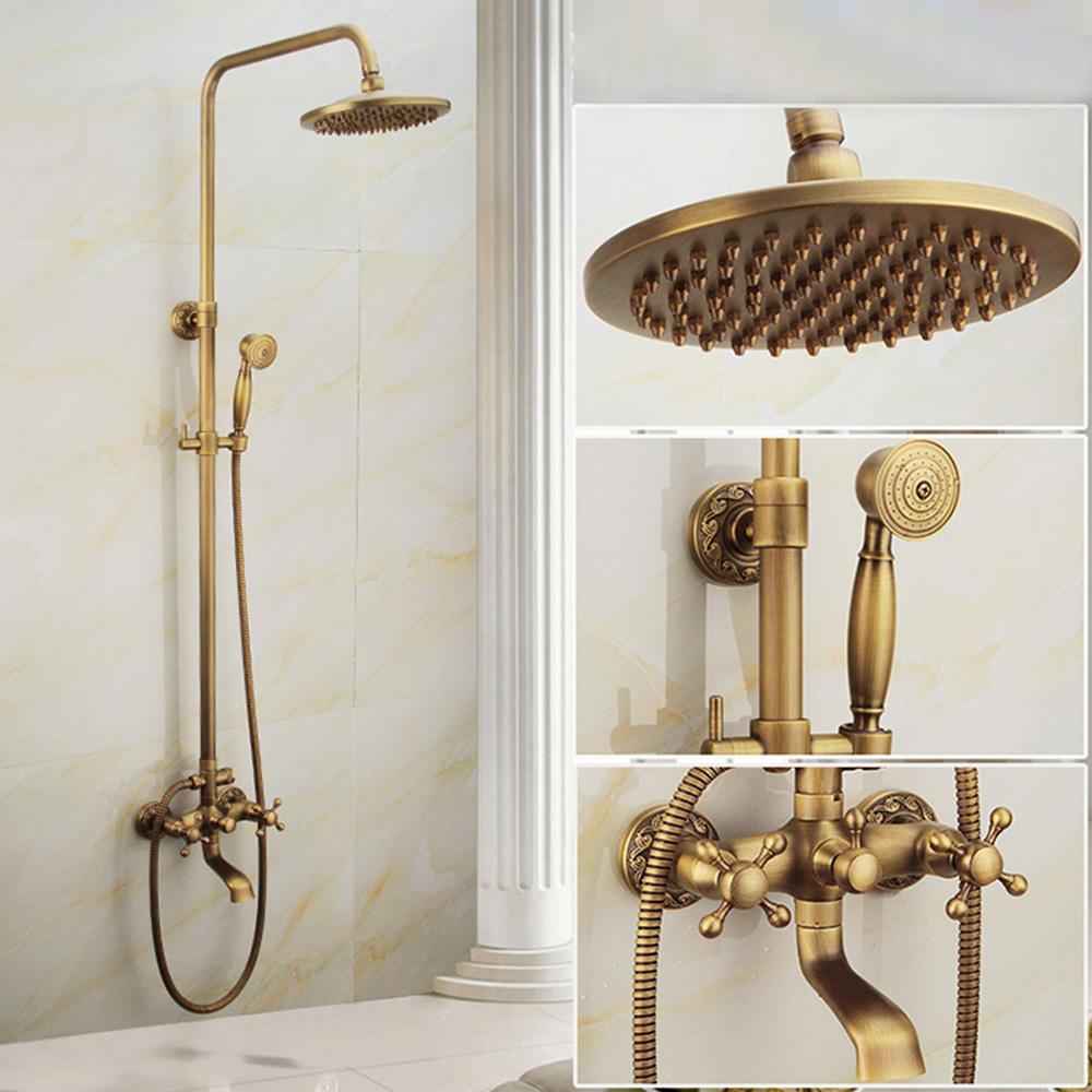 robinet de douche pommeau en cuivre bross style r tro pour salle de bain base sculpt e 3 trous. Black Bedroom Furniture Sets. Home Design Ideas
