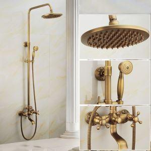 Robinet de douche pommeau en cuivre brossé style rétro pour salle de bain base sculptée 3 trous 3 poignées