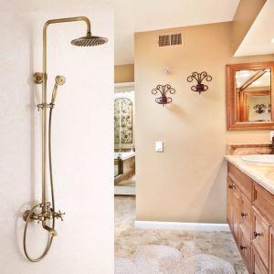 Colonne de douche pommeau en cuivre brossé style rétro pour salle de bain 3 trous 3 poignées