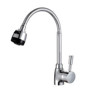 Robinet de cuisine pour salle de bain chromé style moderne simple avec 2 tuyaux de 60cm