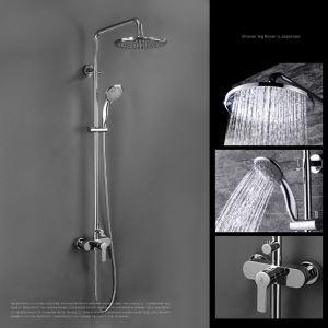 Robinet de douche pour salle de bain chromé style moderne simple avec pommeau 3 trous 4 poignées
