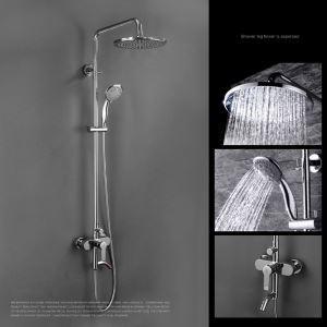 Colonne de douche pour salle de bain chromé style moderne simple avec pommeau 3 trous 4 poignées