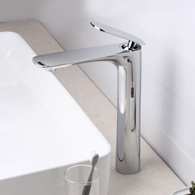 robinet de lavabo vasque pour salle de bain chrom style moderne simple 1 trou 1 poign e. Black Bedroom Furniture Sets. Home Design Ideas