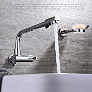 Robinet de lavabo/vasque pour salle de bain chromé style moderne simple installé au mur 1 trou 1 poignée
