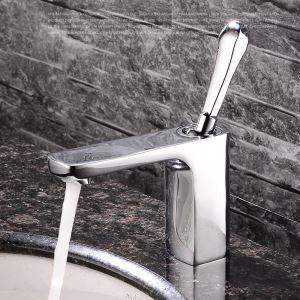 Robinet de lavabo/vasque pour salle de bain chromé style moderne simple 1 trou 1 poignée