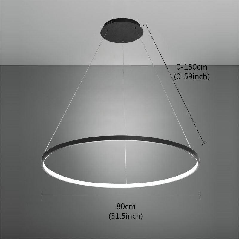 suspension led noir rond luminaire design pour salon salle manger dans style moderne simple. Black Bedroom Furniture Sets. Home Design Ideas