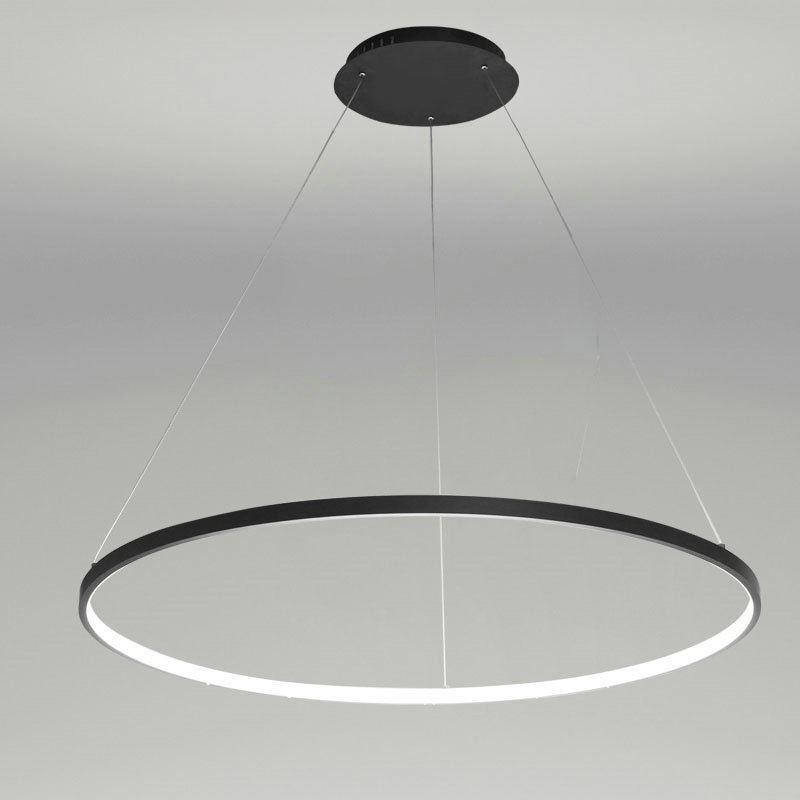 Suspension Led Noir Rond Luminaire Design Pour Salon Salle
