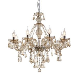 Lustre Luxe Cristal Couleur Cognac à 8 lampes abat-jour en forme de bougie luminaire pour salon chambre hôtel