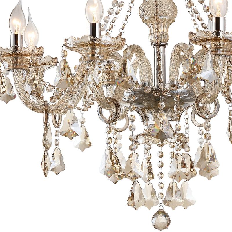 Lustre Baroque Luxe Cristal Cognac à 8 Lampes D 73 Cm Luminaire Pour
