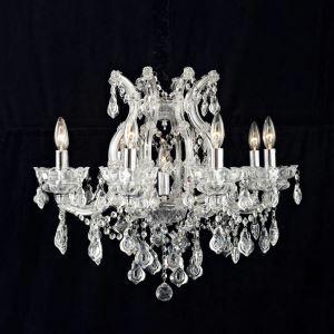 Lustre cristal à 8 lampes transparent baroque lampe pour chambre salle