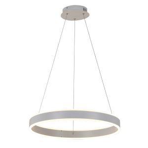 Suspension LED brossé cercle blanc design luminaire pour salle restaurant bar style moderne