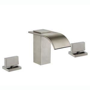 Robinet de baigoire mitigeur  brossé 3 trous pour salle de bain style moderne simple
