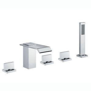 Robinet de baigoire mitigeur avec douchette chrome 5 trous pour salle de bain style moderne simple