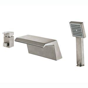 Robinet de baigoire mitigeur avec douchette brossé 3 trous 1 poignée pour salle de bain style moderne simple