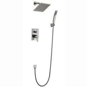 Robinet de douche mitigeur brossé 4 trous 1 poignée pour salle de bain style moderne simple