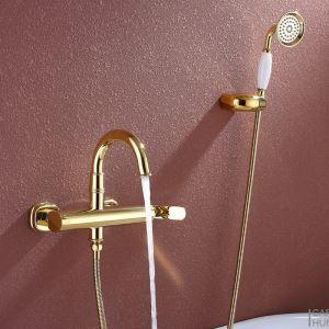 Robinet de douche mitigeur Ti-PVD 3 trous 1 poignée pour salle de bain style moderne simple