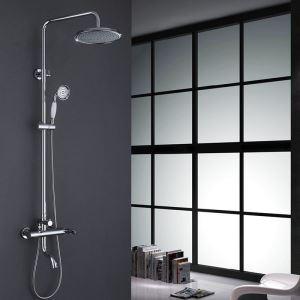 Robinet de douche mitigeur chrome 3 trous 1 poignée pour salle de bain style moderne simple