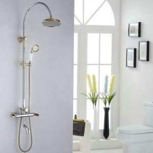 Colonne de douche chrome Ti-PVD mitigeur pour salle de bain 3 trous 1 poignée