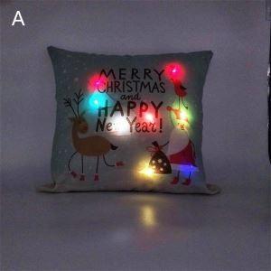 LED Taie de Coussin Noël oreiller 6 modèles décoratif pour canapé sofa chambre salon