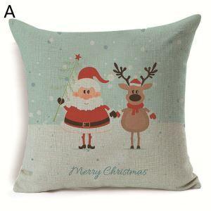 Taie de Coussin Noël oreiller 7 modèles renne décoratif pour canapé sofa chambre salon