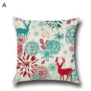 Taie de Coussin Noël oreiller 4 modèles renne décoratif pour canapé sofa chambre salon