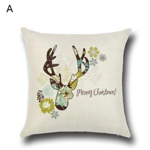 Taie de Coussin Noël oreiller 4 modèles décoratif pour canapé sofa chambre salon