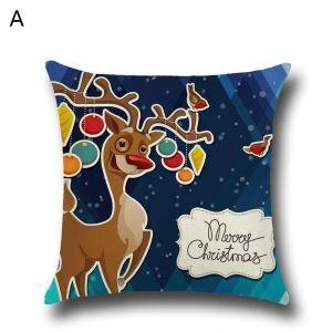 Taie de Coussin oreiller 5 modèles renne père noël décoratif pour canapé sofa chambre salon
