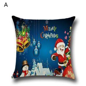 Taie de Coussin Noël oreiller 4 modèles renne père noël décoratif pour canapé sofa chambre salon