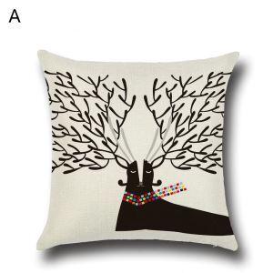 Taie de Coussin Noël oreiller 6 modèles décoratif pour canapé sofa chambre salon