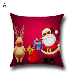 Taie de Coussin Noël oreiller 5 modèles renne père noël décoratif pour canapé sofa chambre salon