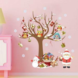 Sticker mural adhérente Père Noël animaux neige décoration pour chambre salle