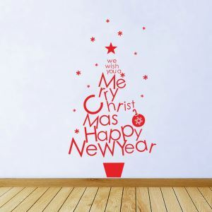 Stickers de Noël Papier peint décoration murale à motif d'arbre