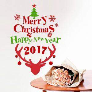 Merry Christmas Sticker mural adhérente renne Noël décoration pour chambre salle