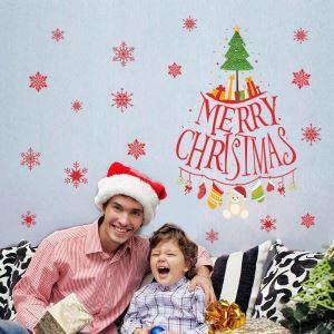 Sticker mural adhérente Noël Renne Merry Christmas sapin décoration pour chambre salle