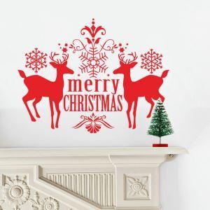 Merry Christmas sticker mural adhérente rennes décoration pour chambre salle