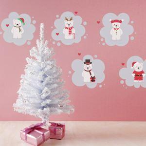 Stickers de Noël Papier peint décoration murale à motif des ours
